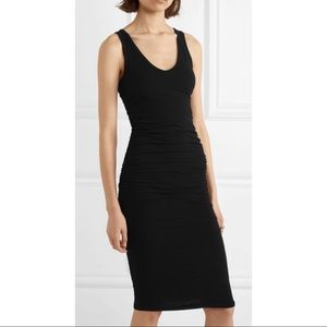 james perse / black ruched midi jersey dress lbd